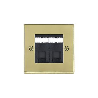 Hamilton Litestat Hartland Polished Brass 2g RJ45 CAT5E Unshielded BL