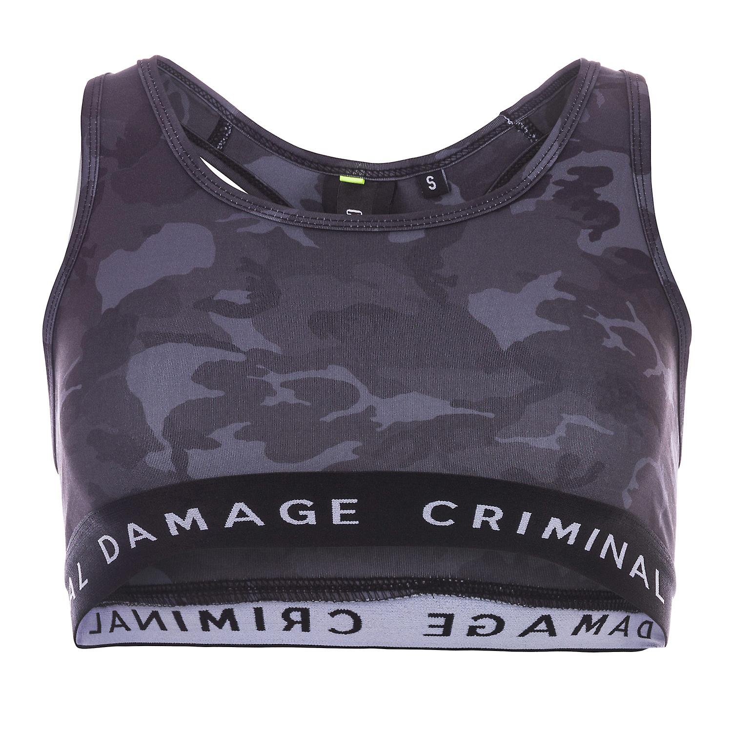 Womens Criminal Damage Bra Top In Black / Camo