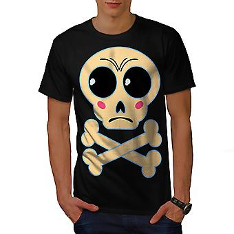 Cute Graphic Print Skull Men BlackT-shirt | Wellcoda