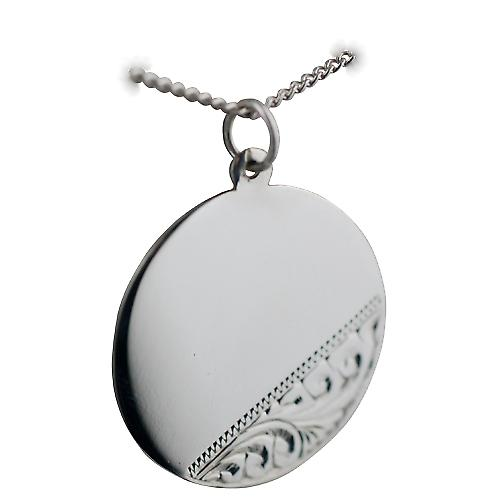 Silver 26mm round hand engraved Disc with a curb Chain 22 inches