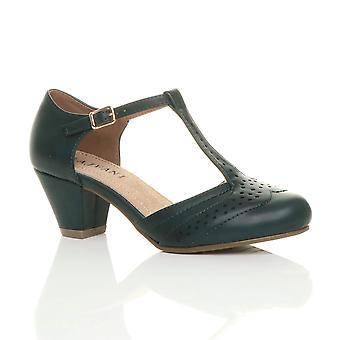 Ajvani dame midten af lav blok hæl t-bar brogue komfort gummi eneste domstol sko sandaler