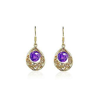 Womens Gold and Purple Hollow Teardrop Earrings BG1664