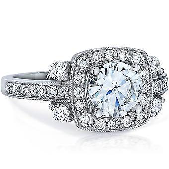 1 5/8ct HRD Certified E VVS-SI1 Vintage Antique Halo Diamond Engagement Ring 18K