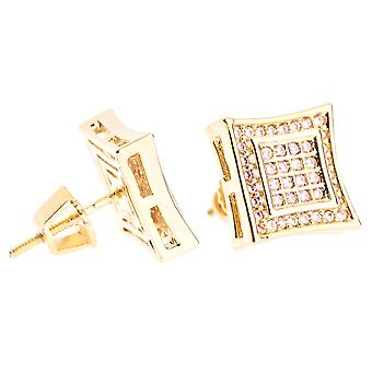 Iced out bling micro pave earrings - SQUARE 10 mm gold