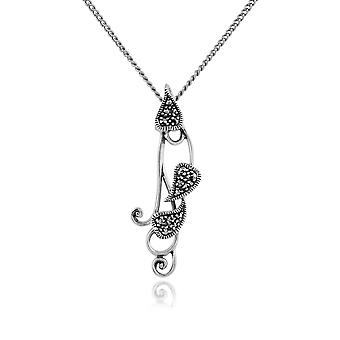 Gemondo Sterling Silver 0.17ct Marcasite Heart Pendant on Chain