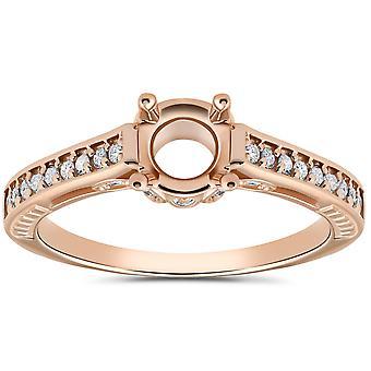 1/5ct Diamond Rose Gold Engagement Ring Setting Vintage