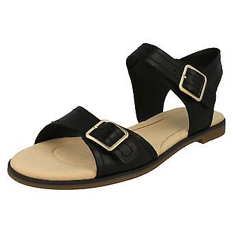 Ladies Clarks Casual Slingback Sandal Bay Primrose - Black Leather - UK Size 6D - EU Size 39.5 - US Size 8.5M