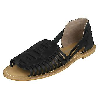 Ladies Leather Collection Flat Weave Sandals F00145 - Black Leather - UK Size 8 - EU Size 41 - US Size 10