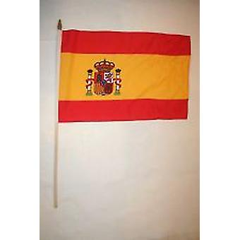 Spanien Hand Held Flagge - mit Wappen