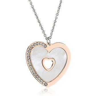 Orphelia srebro 925 naszyjnik wisiorek serce Róża - matka perły 45 Cm ZK-2775