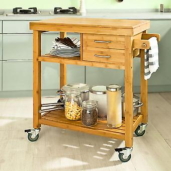 SoBuy Bamboo Kitchen Trolley with Drawers & Towel Paper Holder,FKW26-N