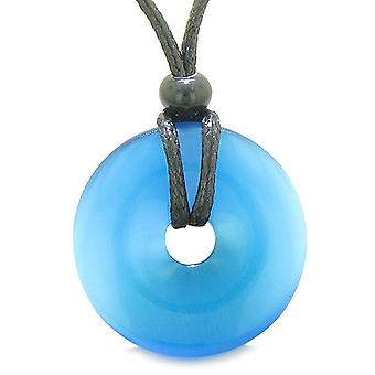 Amulet Magic Large Coin Shaped Donut Positive Powers Sky Blue Cats Eye Crystal Lucky Charm Necklace
