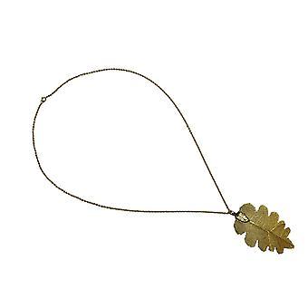 Gemshine - Damen - Halskette - Anhänger - Vergoldet - Blatt - Eichenblatt  - Natur - 7 cm
