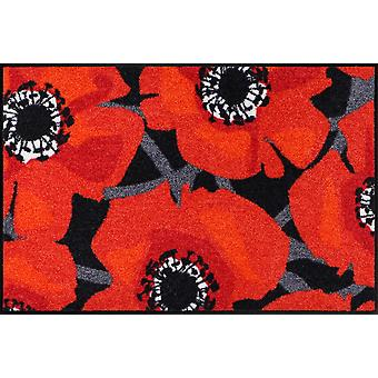 Salon lion doormat Bloom Poppy Black bright red poppies