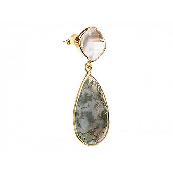 Få kvinder - øreringe - 925 sølv forgyldt kvarts - og facetslebne glitter sten - citron - grå - gul-.