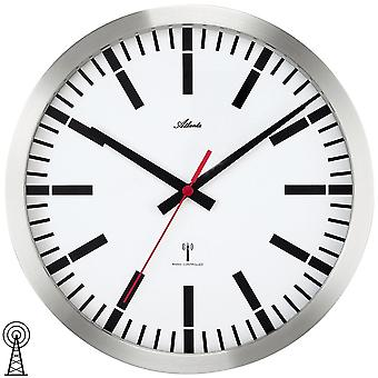 Atlanta 4374 wall clock train station clock radio radio controlled wall clock analog in stainless steel effect