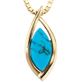 Trailer 585 /-g-Turquoise Turquoise pendant gold pendant turquoise 585 gold
