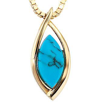 Trailer van 585 /-g-Turquoise Turquoise hanger goud hanger turkoois 585 goud