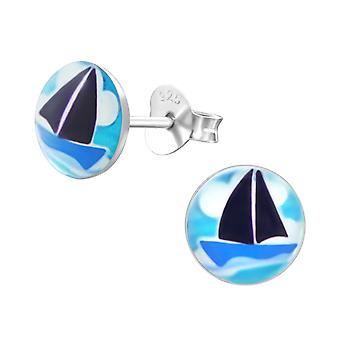 Boat - 925 Sterling Silver Colourful Ear Studs