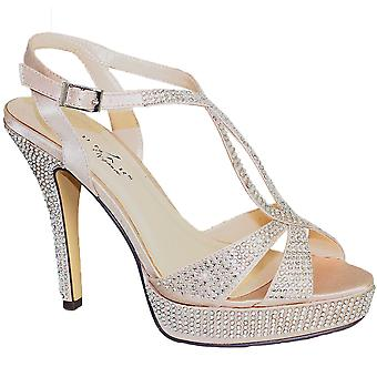 Ladies Diamante Criss Cross Strap Platform Party Women's High Heels Clutch Bag