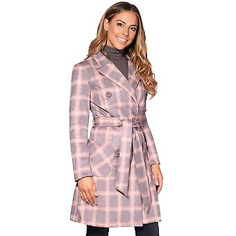 KRISP  Woman Ladies Check Soft Stretch Fit Faux Suede Button Coat Trench Mac Jacket