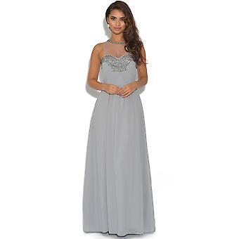 Little Mistress Embellished Mesh Grey Maxi Dress
