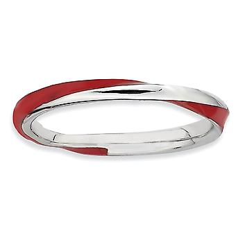Sterling Silver Polished Rhodium-plated Twisted Red Enameled 2.5 x 2.25mm Stackable Ring - Ring Size: 5 to 10