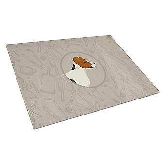 Jack Russell Terrier In the Kitchen Glass Cutting Board Large