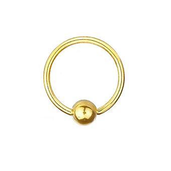 Chapado en oro BCR Piercing titanio 1,2 mm, anillo de cierre de la bola | Diámetro 6-12 mm