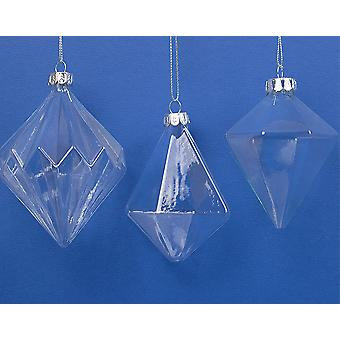3 Large Assorted Shape Glass Christmas Bauble Ornaments | Glass Tree Decorations