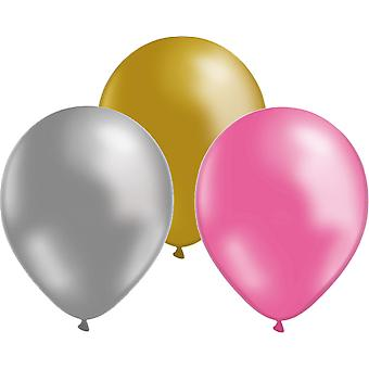 Paquete de 24 globos oro/plata/rosa