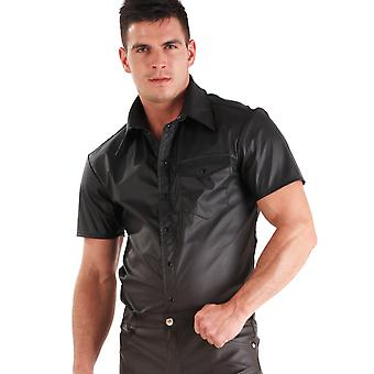 Honour Men's Sexy T Shirt Faux Leather Black Top Shortsleeved Collar