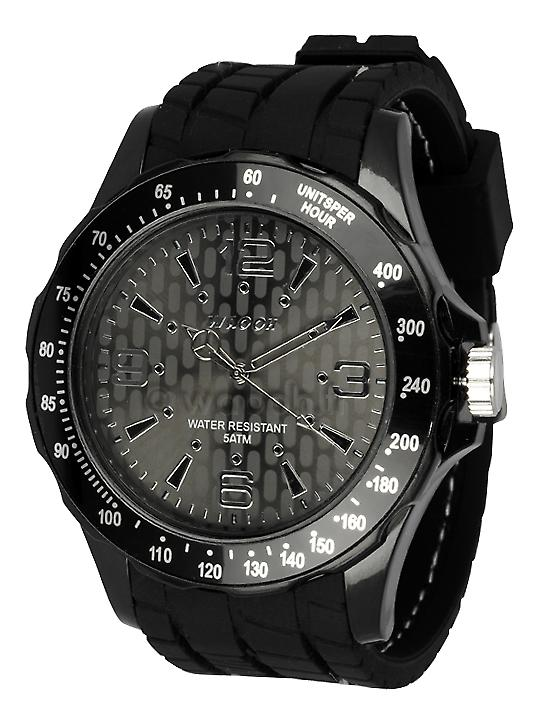 Waooh - GPM48 Watch - Silicone Bracelet Black tire style