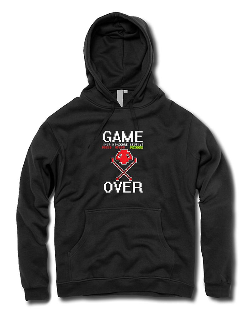 Mens Hoodie - Frogger Game Over - Retro Computer Game 0s
