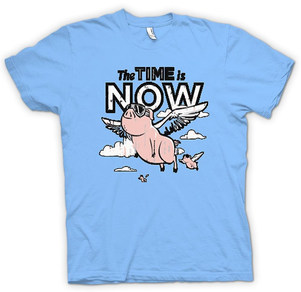 Mens T-shirt - The Time Is Now Pigs Can Fly