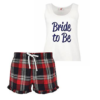Bride To Be Ladies Tartan Frill Short Pyjama Set Red Blue or Green Blue