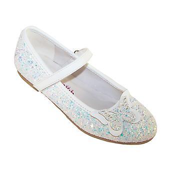 Flickor vit glittrande glitter ballerina part skor med fjäril trim