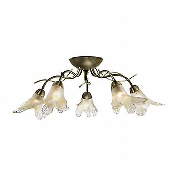 Searchlight 5495-5AB Lily Semi Flush Antique Brass Ceiling Fitting