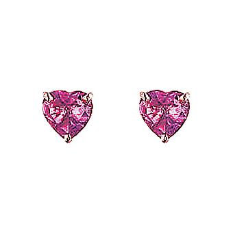 The Olivia Collection Sterling Silver Pink Cz Heart Shaped Earrings 6mm