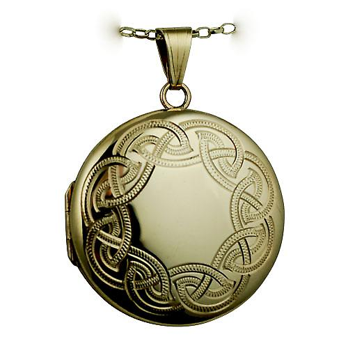 9ct Gold 29mm round Celtic hand engraved Locket with a belcher Chain 16 inches Only Suitable for Children