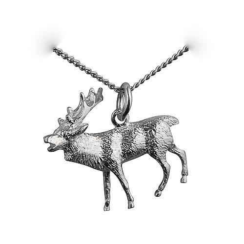 Silver 26x20mm Stag on guard Pendant with a curb Chain 18 inches