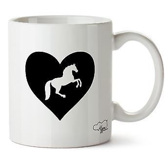 Hippowarehouse coração equitação impresso caneca copo cerâmico 10oz