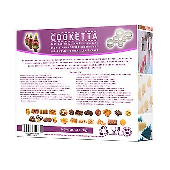 Cooketta - 155 Pcs Tart Pastries Canapés Icing Cake Clay Fondant Sugarpaste Scones and Cookies Cutter and Embosser Design Set with Ideas Booklet