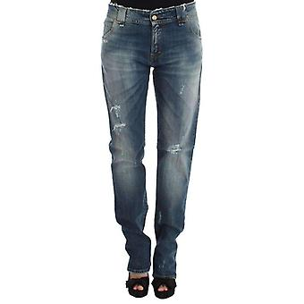 Galliano Blue Wash Cotton Blend Boyfriend Fit Jeans -- SIG3909808