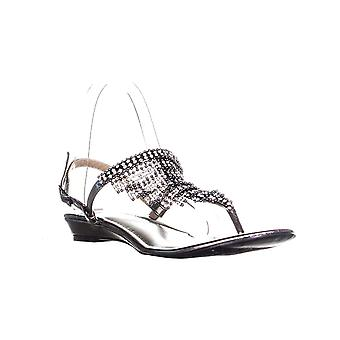 TS35 Ivorie T Strap Beaded Cover Flat Sandals, Pewter
