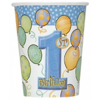 Disposable Party/Picnic Paper Glasses/Cups 9Oz 8/Pk - 1St Birthday Blue