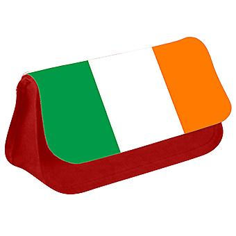 Ireland Flag Printed Design Pencil Case for Stationary/Cosmetic - 0081 (Red) by i-Tronixs
