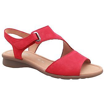 Gabor Red Nubuck Mostic Flat Sandal