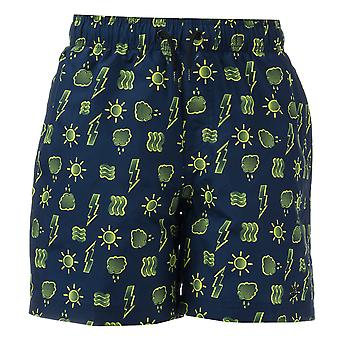 "Infant Boys Speedo Printed 15"" Swim Shorts In Navy Yellow- Ribbed Waistband-"