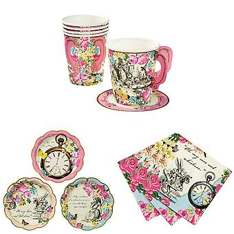 Alice im Wunderland Party Set beinhaltet Plates, Napkins, Cups For 12